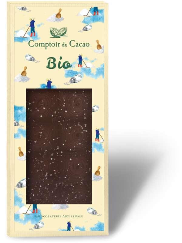 Tablette gourmande noir fleur de sel BIO, Comptoir Cacao (90 g)