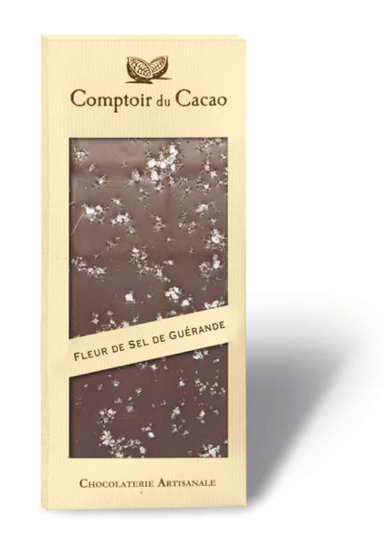 Tablette gourmande noir fleur de sel de Guérande, Comptoir Cacao (90 g)