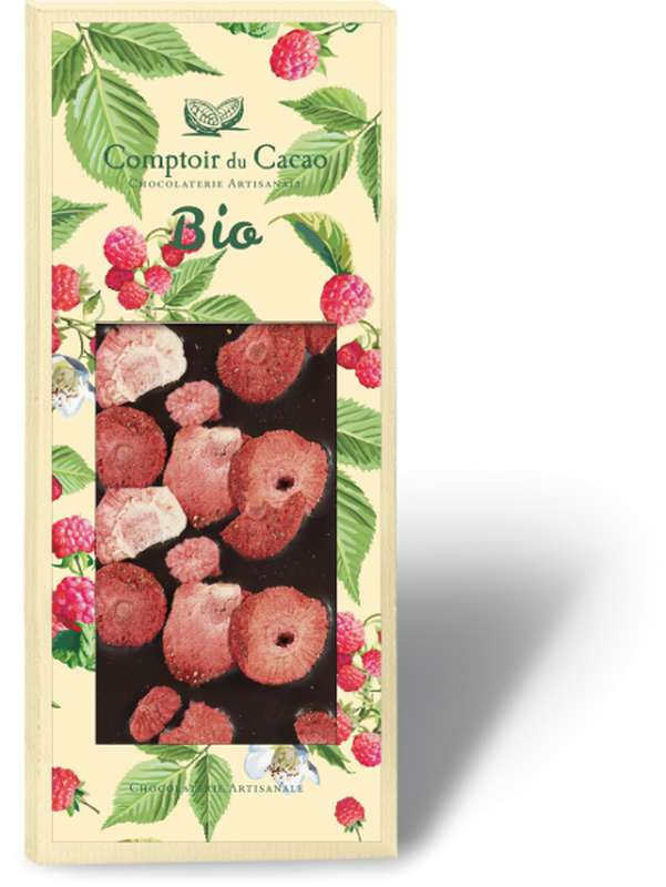 Tablette gourmande noir fraise BIO, Comptoir Cacao (90 g)