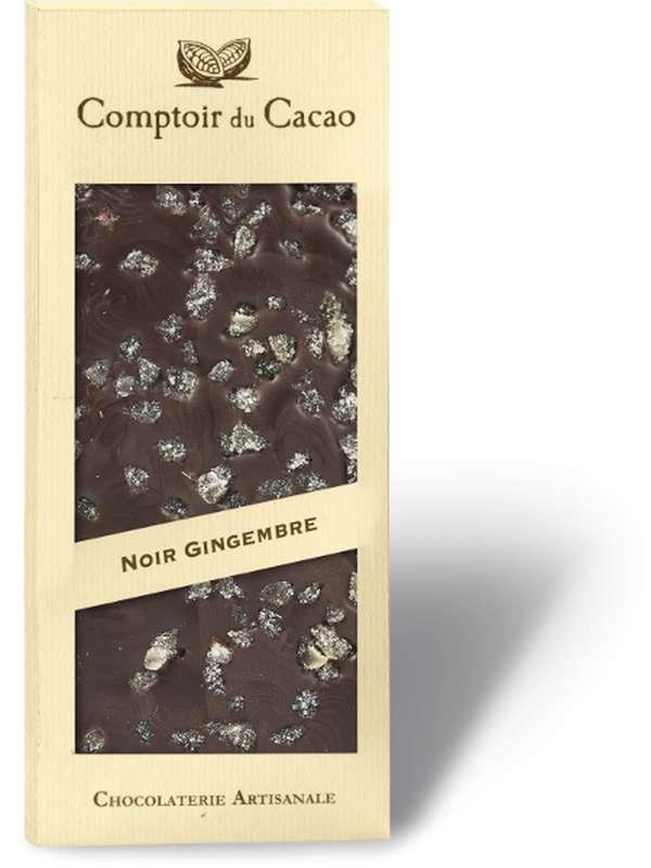 Tablette gourmande noir gingembre, Comptoir Cacao (90 g)