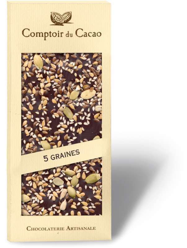 Tablette gourmande noir mélange 5 graines, Comptoir Cacao (90 g)