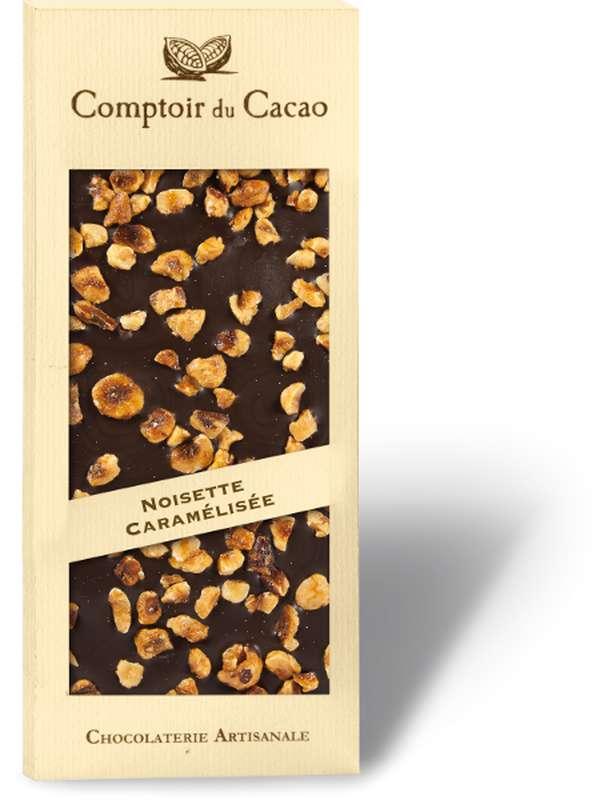 Tablette gourmande noir noisettes caramélisées, Comptoir Cacao (90 g)