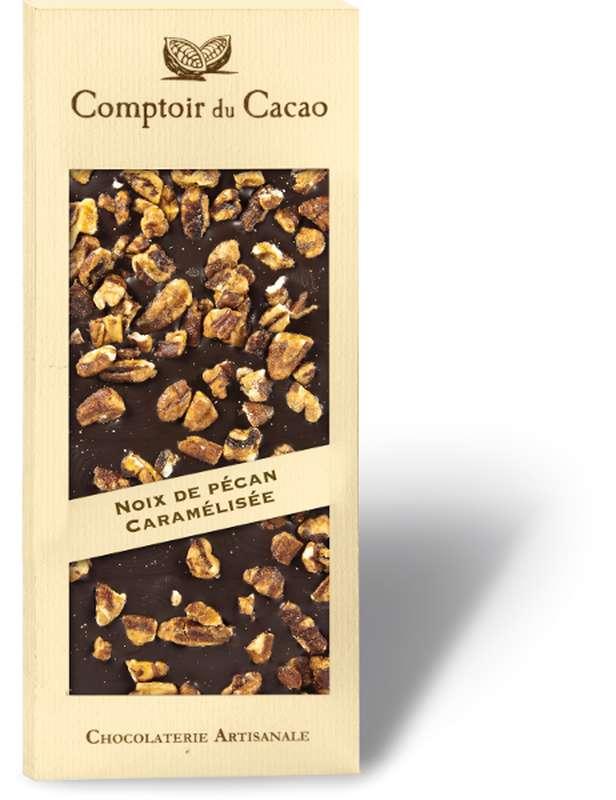 Tablette gourmande noir noix de Pécan caramélisées, Comptoir Cacao (90 g)