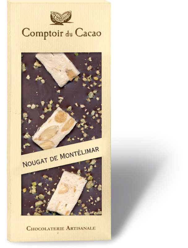 Tablette gourmande noir nougat de Montélimar, Comptoir Cacao (90 g)