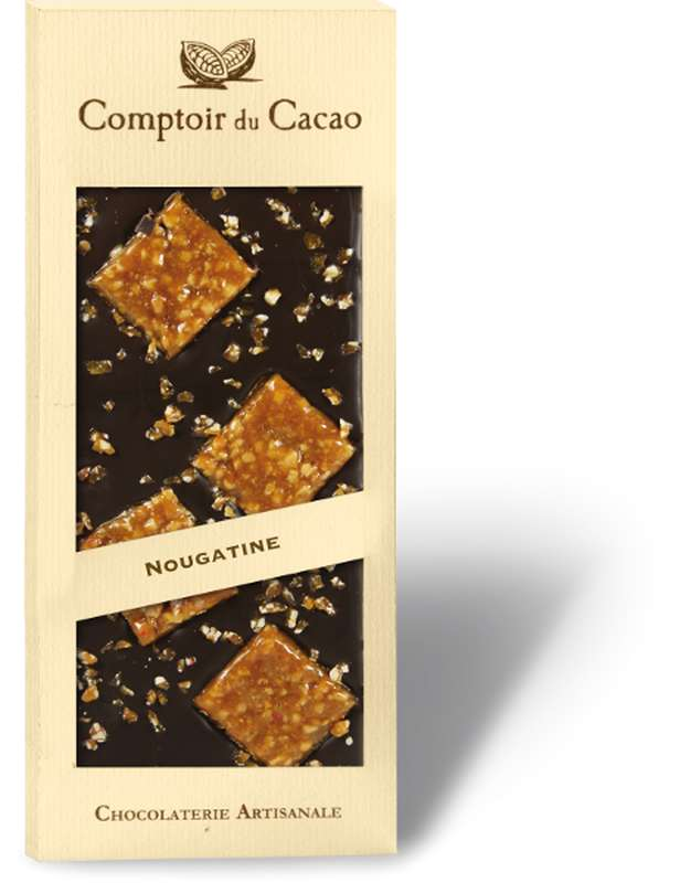 Tablette gourmande noir nougatine, Comptoir Cacao (90 g)