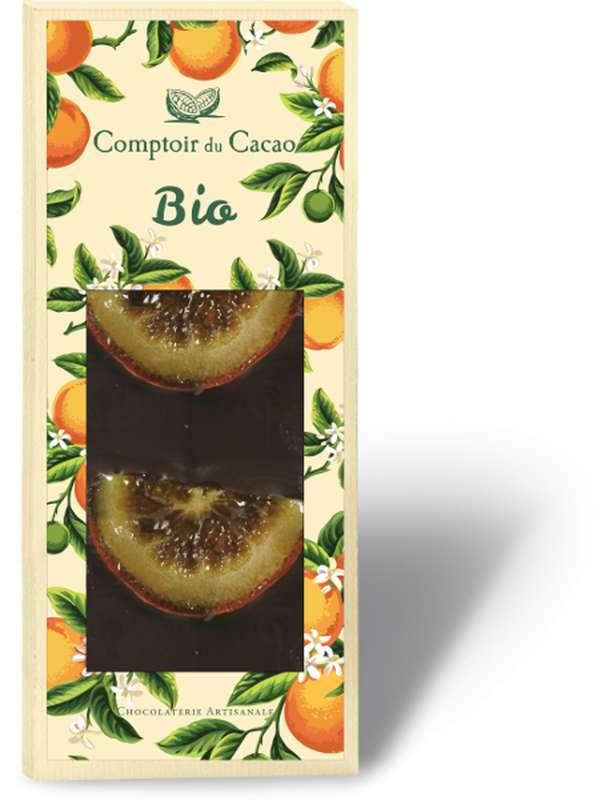 Tablette gourmande noir oranges confites BIO, Comptoir Cacao (90 g)