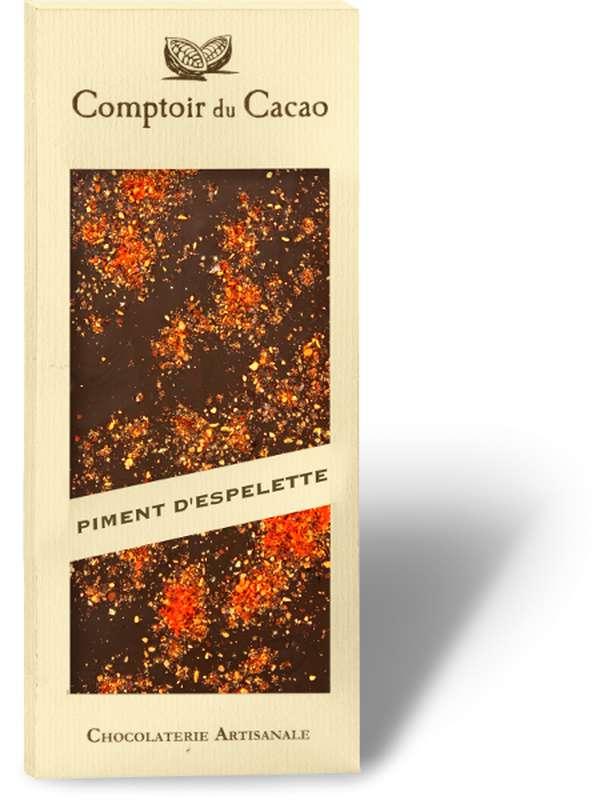Tablette gourmande noir Piment d'Espelette, Comptoir Cacao (90 g)