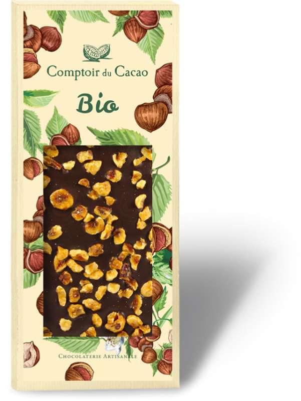 Tablette gourmande noir noisettes BIO, Comptoir Cacao (90 g)