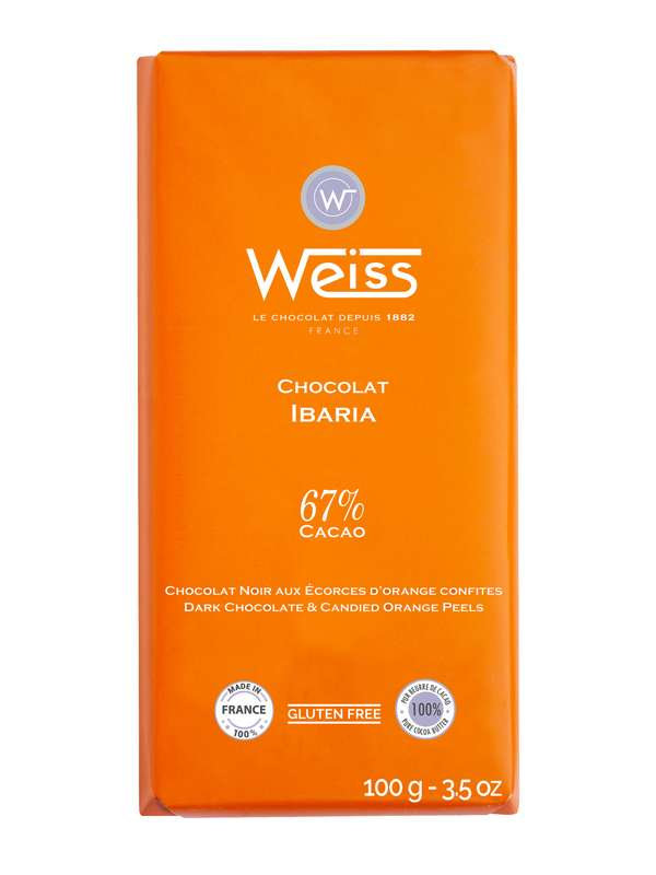 Tablette Ibaria chocolat noir aux écorces d'orange confites 67% de cacao, Weiss (100 g)