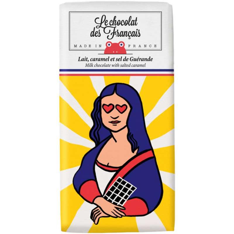 Tablette La Joconde Lait, Caramel et Sel de Guérande BIO, Le Chocolat des Français (80 g)