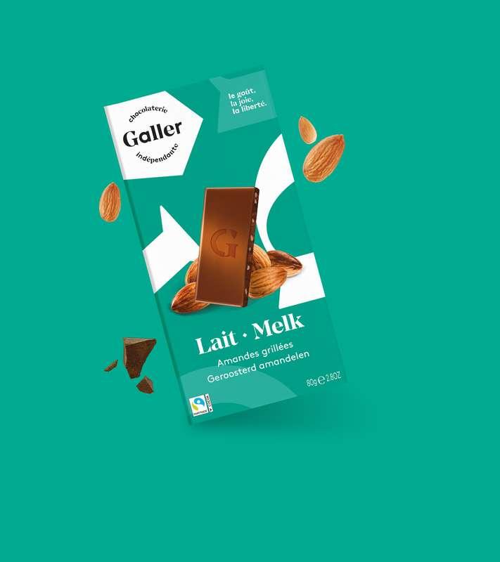 Tablette lait amandes grillées, Chocolat Galler (80 g)