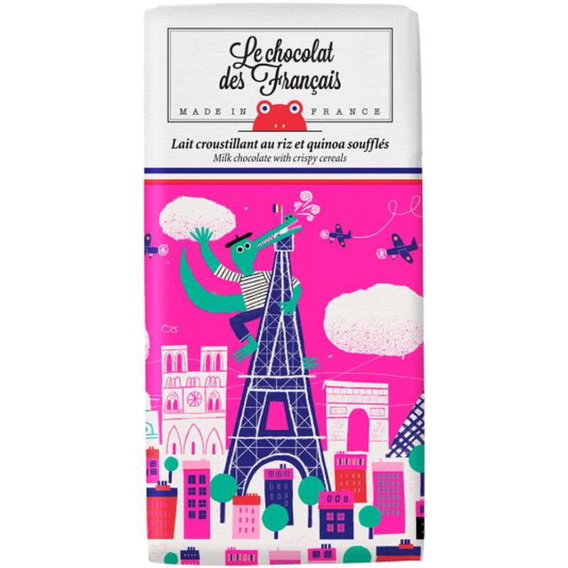 Tablette Le Crocodile Lait Croustillant aux céréales BIO, Le Chocolat des Français (80 g)