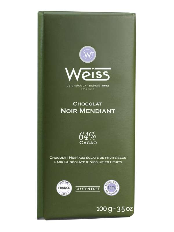 Tablette Mendiant chocolat noir éclats de fruits secs 64% de cacao, Weiss (100 g)