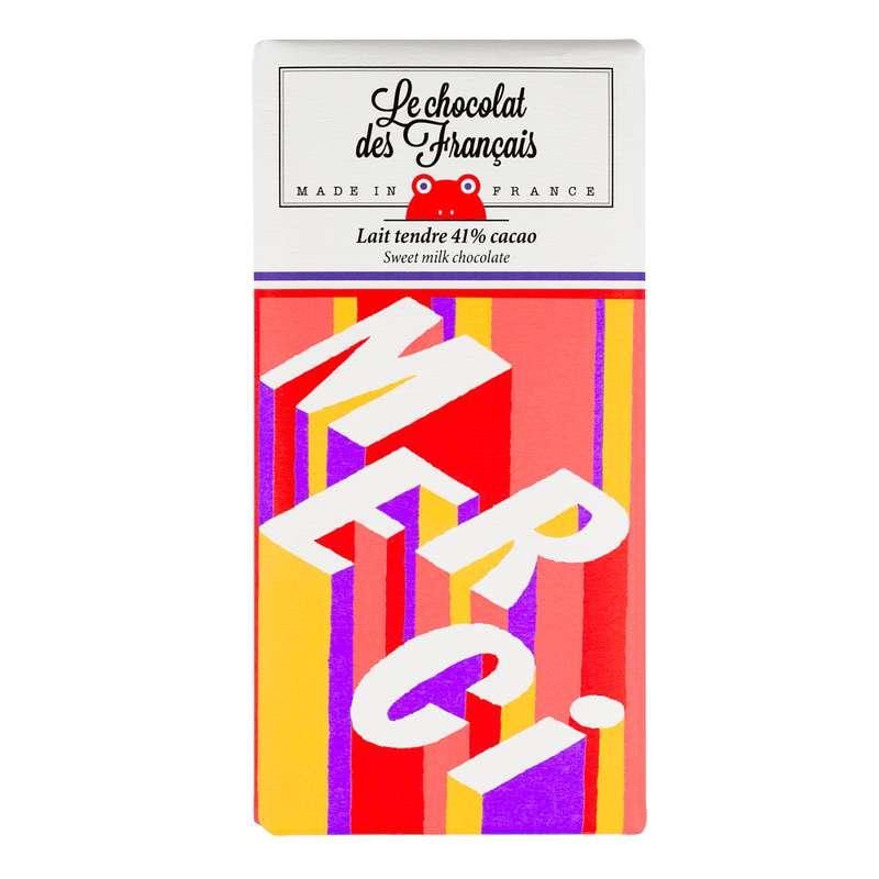 Tablette Merci Lait Tendre 41% BIO, Le Chocolat des Français (80 g)