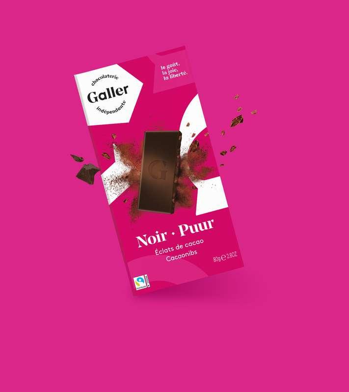 Tablette noir 70% éclats de cacao, Chocolat Galler (80 g)