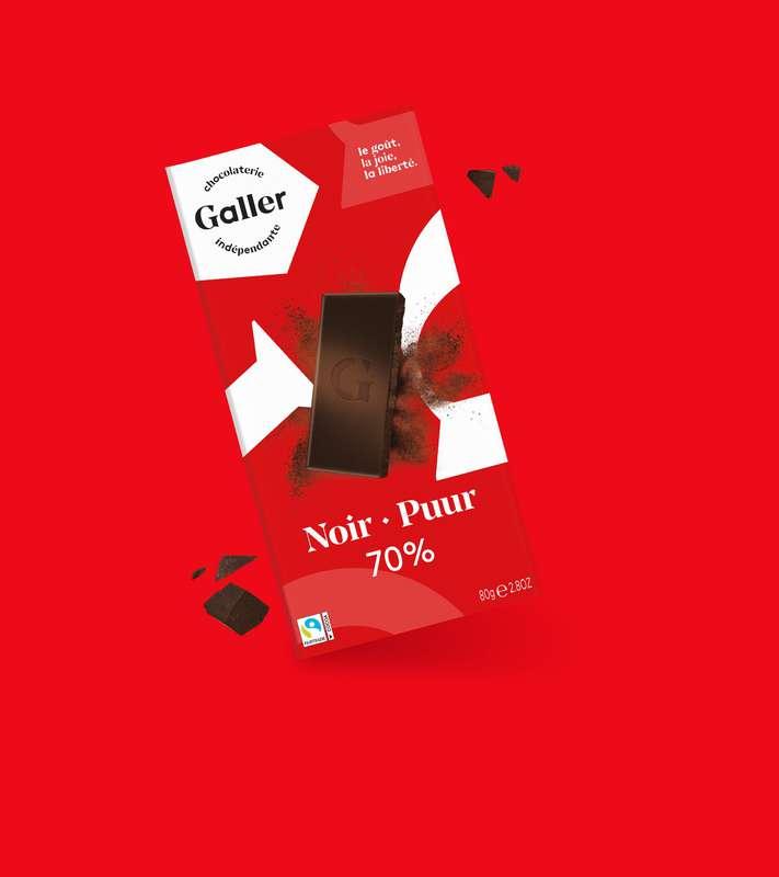 Tablette noir 70% intense, Chocolat Galler (80 g)