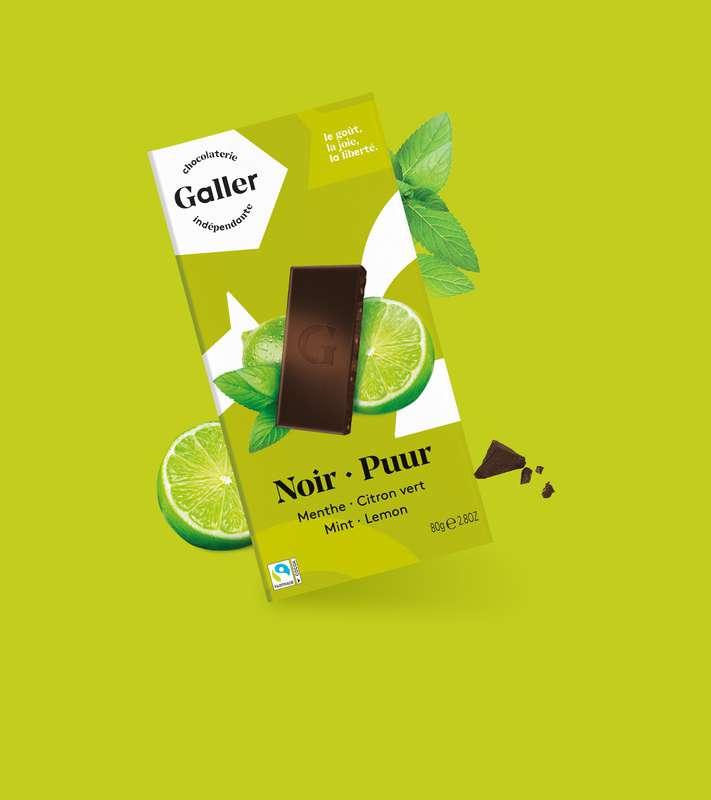 Tablette noir 70% menthe et citron vert, Chocolat Galler (80 g)