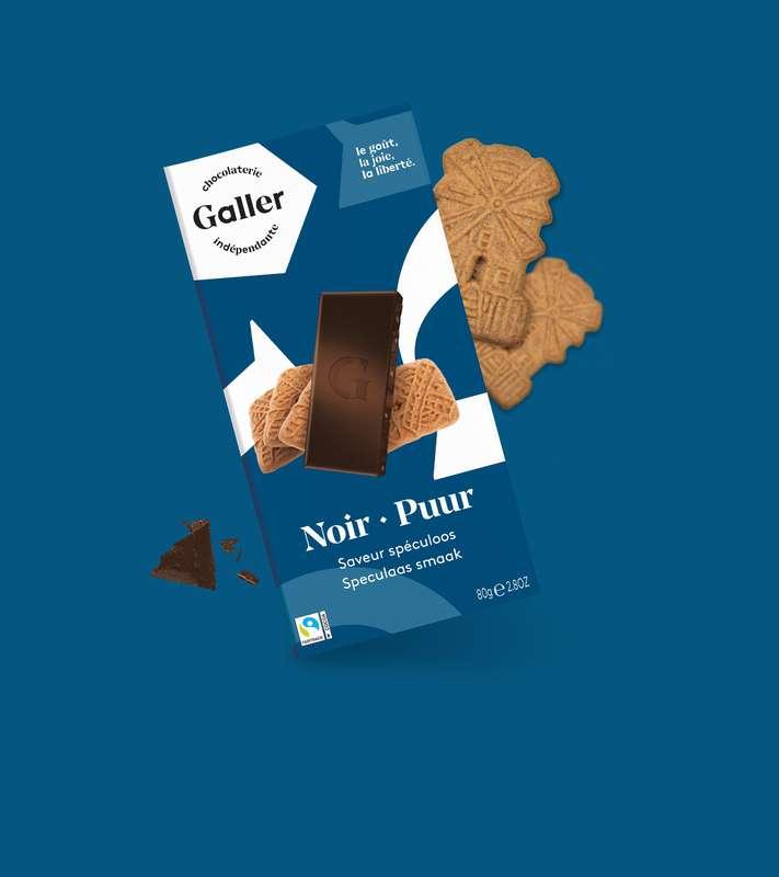 Tablette noir 70% spéculos, Chocolat Galler (80 g)