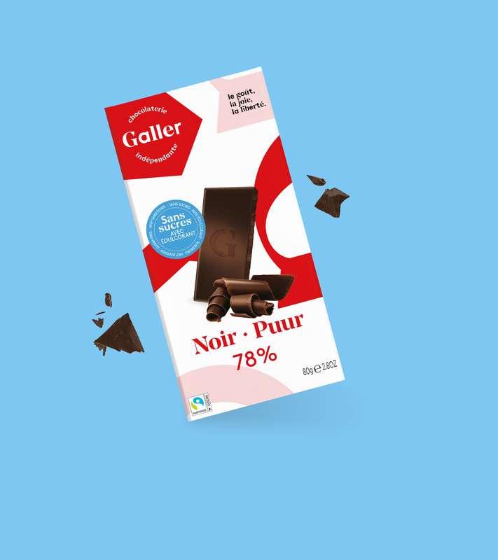 Tablette noir 78% sans sucres ajoutés, Chocolat Galler (80 g)