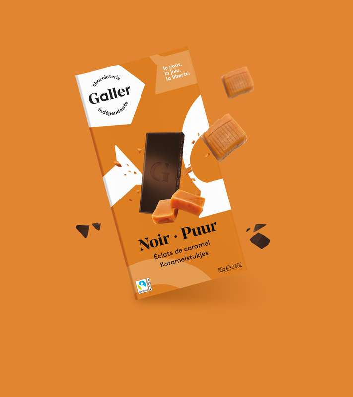 Tablette noir 85% éclats de caramel, Chocolat Galler (80 g)