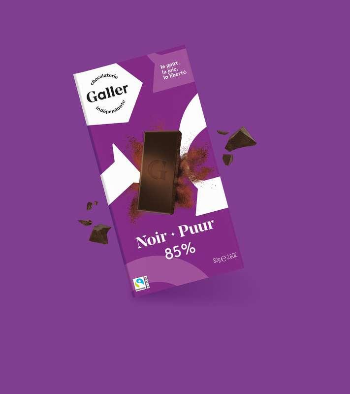 Tablette noir 85% profond, Chocolat Galler (80 g)