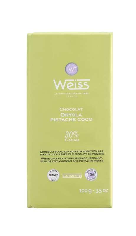 Tablette Oryola chocolat blanc pistache coco 30% de cacao, Weiss (100 g)