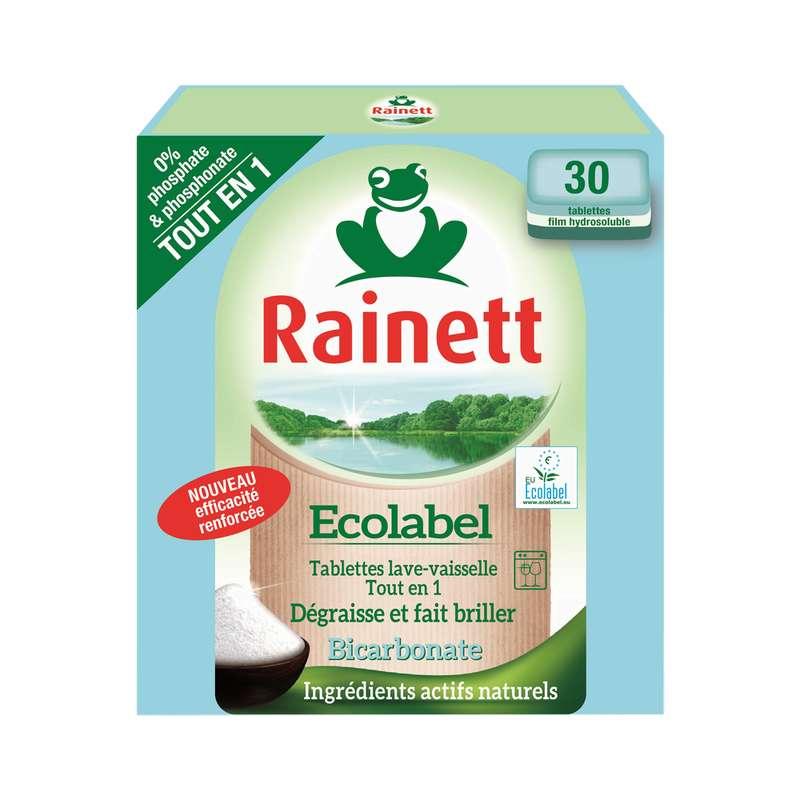 Tablette pour lave vaisselle ecolabel tout en un, Rainett (x 30)