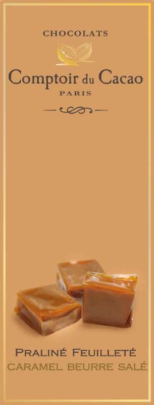 Tablette praliné feuilleté caramel beurre salé, Comptoir Cacao (80 g)