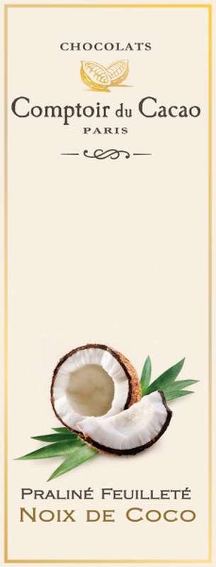 Tablette praliné feuilleté coco, Comptoir Cacao (80 g)