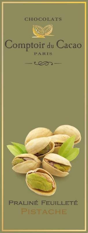 Tablette praliné feuilleté pistache, Comptoir Cacao (80 g)