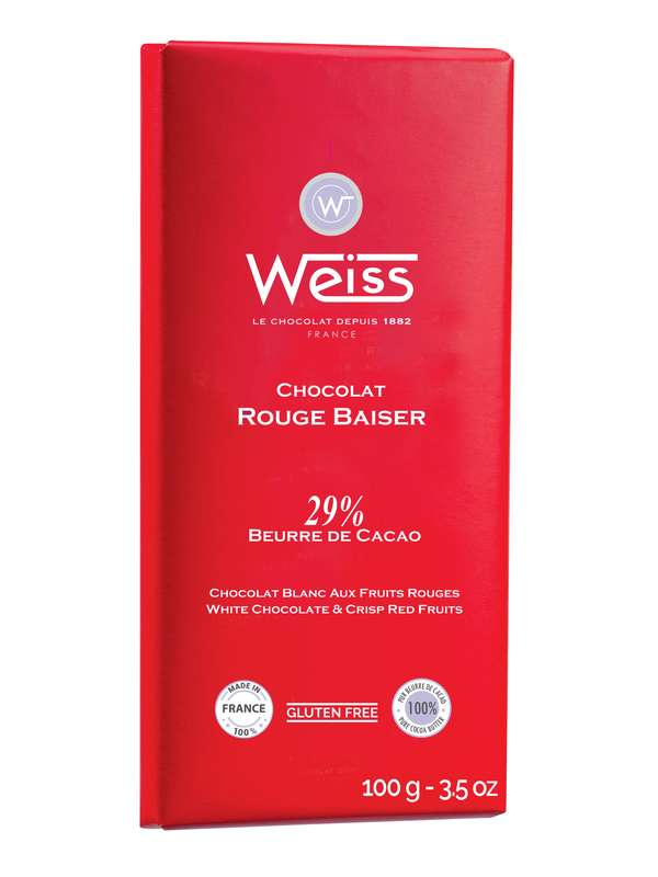 Tablette Rouge Baiser chocolat blanc aux fruits rouges 29% de cacao, Weiss (100 g)