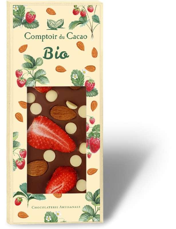 Tablette très gourmande lait amande fraise BIO, Comptoir Cacao (100 g)