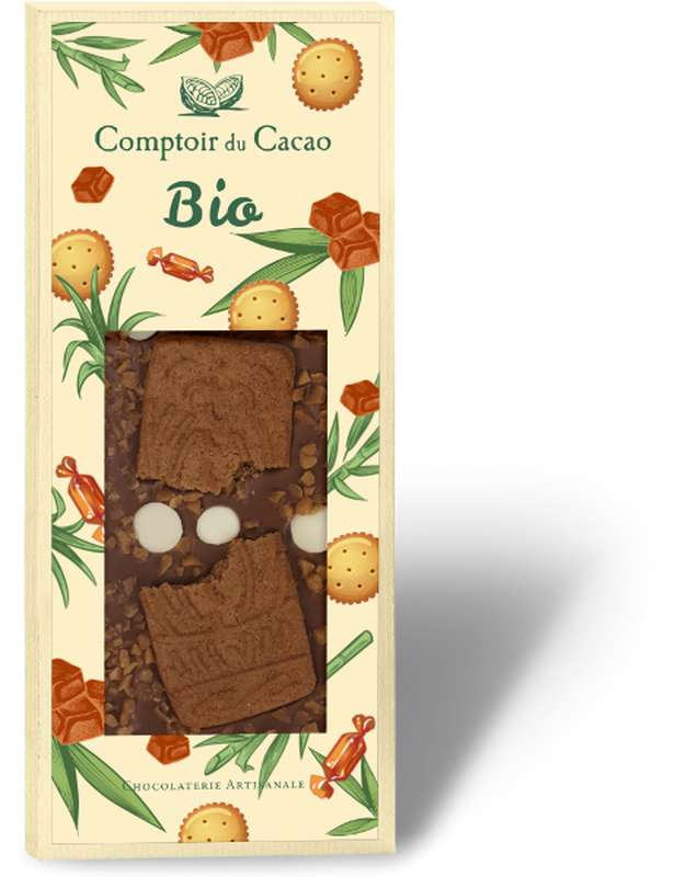 Tablette très gourmande lait biscuit caramel BIO, Comptoir Cacao (100 g)
