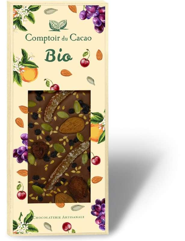 Tablette très gourmande mendiant lait BIO, Comptoir Cacao (100 g)