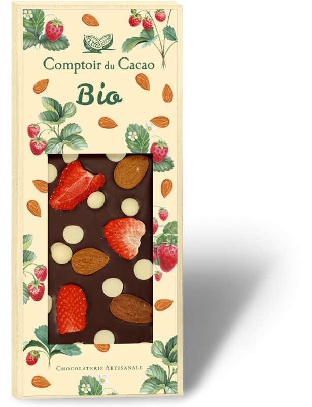 Tablette très gourmande noir amande fraise BIO, Comptoir Cacao (100 g)