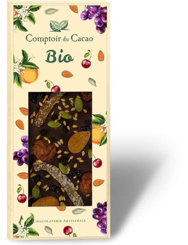 Tablette très gourmande mendiant noir BIO, Comptoir Cacao (100 g)
