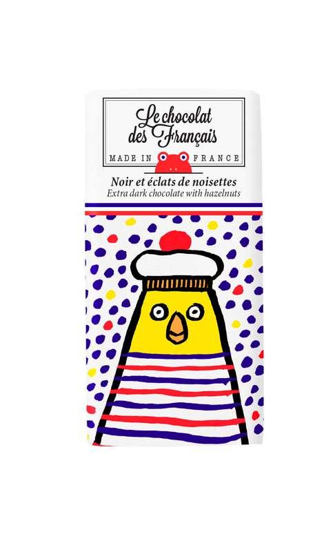 Tablettine Poule Mouillée Noir 71% et éclats de noisettes BIO, Le Chocolat des Français (30 g)