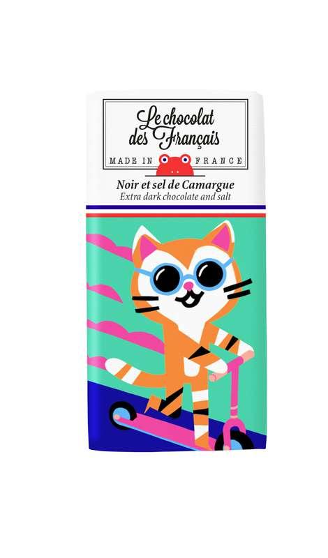 Tablettines Chaton Noir et Sel de Camargue BIO, Le Chocolat des Français (30 g)