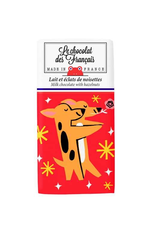 Tablettine Chiens Lait et éclats de noisettes BIO, Le Chocolat des Français (30 g)