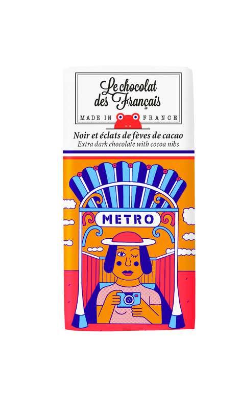 Tablettines Le Métro Noir 71% et éclats de fèves de cacao BIO, Le Chocolat des Français (30 g)