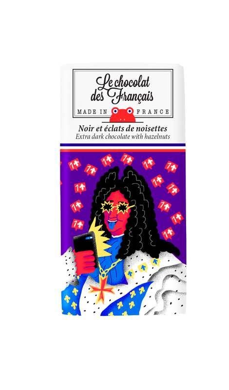 Tablettines Louis XIV Noir 71% et éclats de noisettes BIO, Le Chocolat des Français (30 g)