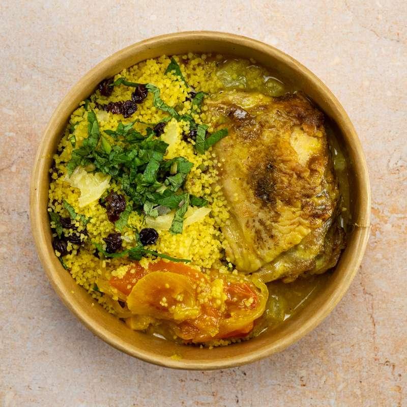 Tajine de poulet fermier et citron confit avec semoule (300 g)