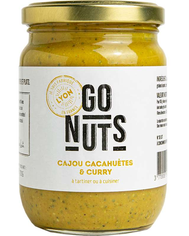 Tartinable Cajou et Cacahuètes Curry BIO, Go Nuts (270 g)