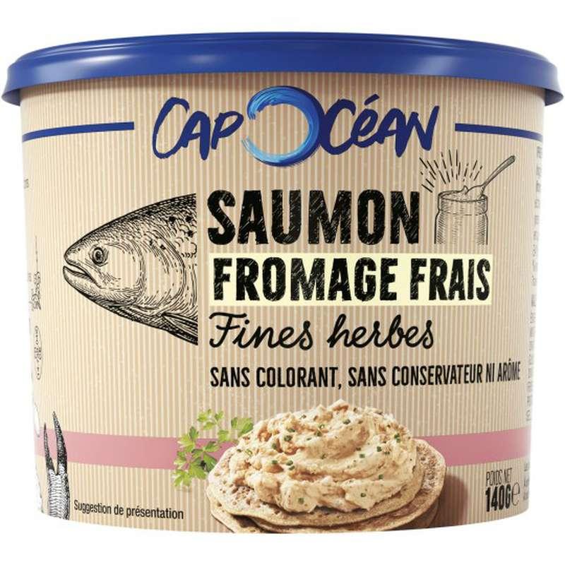 Tartinable de saumon au fromage frais fines herbes sans colorant sans conservateur, Cap Océan (140 g)