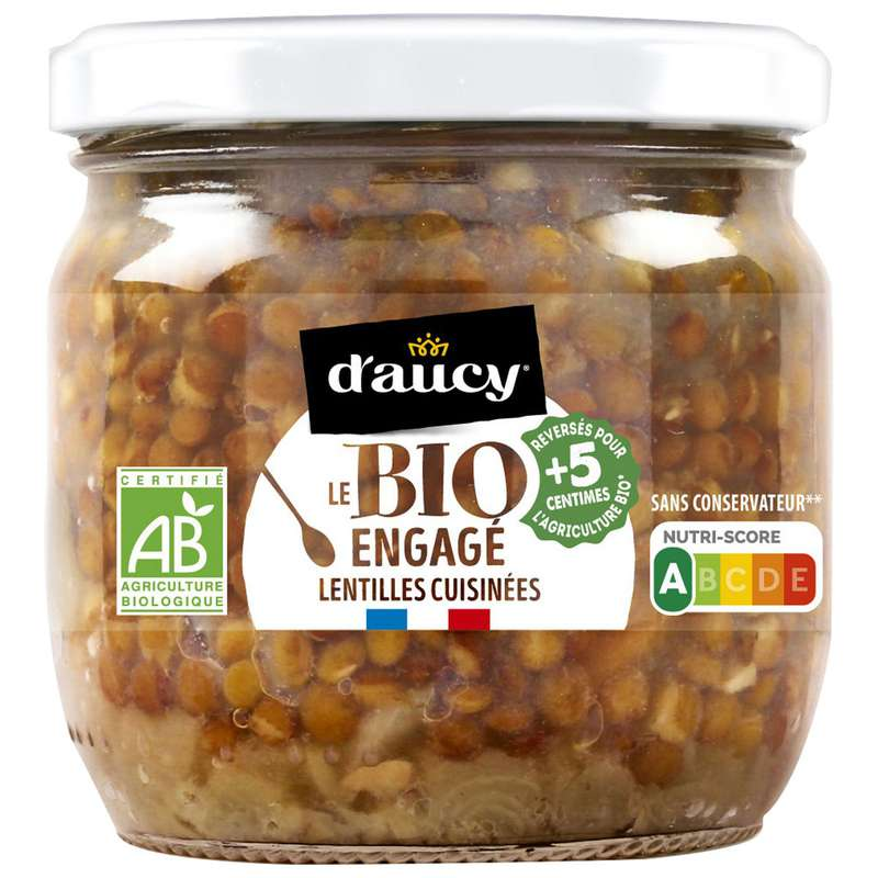 Lentilles cuisinées aux carottes et oignons BIO, d'Aucy (330 g)