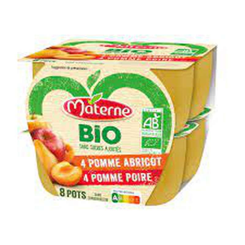 Compotes pomme poire pomme abricot sans sucres ajoutés BIO, Materne (x 8)
