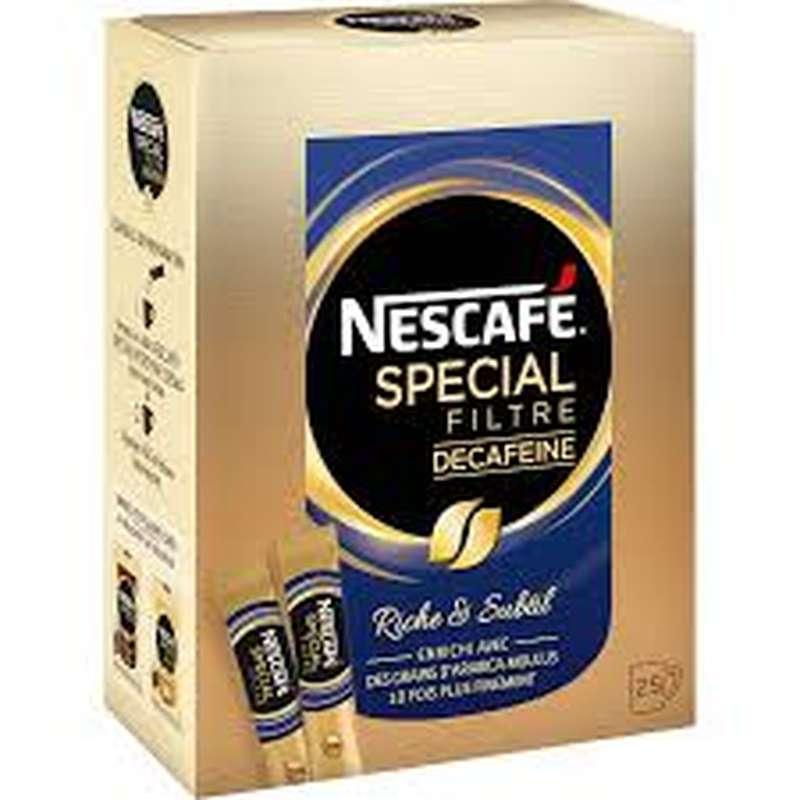 Café décaféiné spécial filtre, Nescafé (25 sticks)