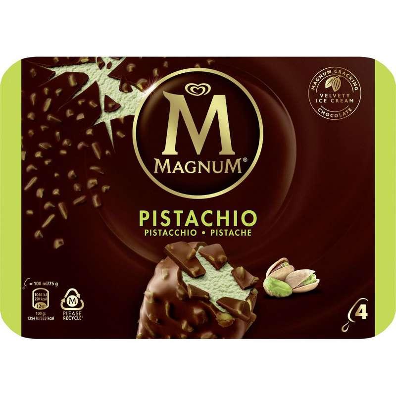 Bâtonnet pistache enrobé de chocolat au lait, Magnum (x 4)