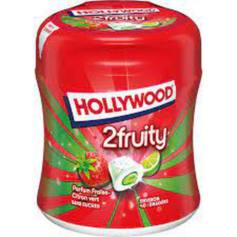 Chewing-gum fraise citron vert sans sucres, Hollywood (88 g)