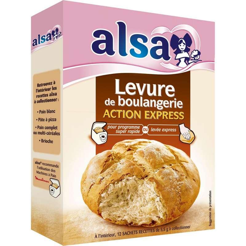 Levure de boulangerie action express, Alsa (x12, 66 g)